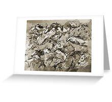 Running Horses BW Greeting Card