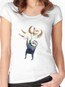 Slothy dancing - sloth couple Women's Fitted Scoop T-Shirt