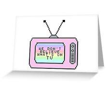Ombre Pastel Pixel TV Lyrics Greeting Card