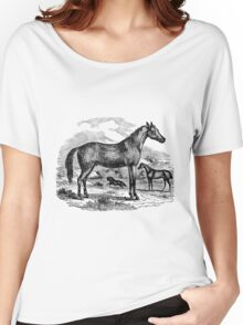 Vintage Arabian Horse Illustration Retro 1800s Black and White Equestrian Image Women's Relaxed Fit T-Shirt