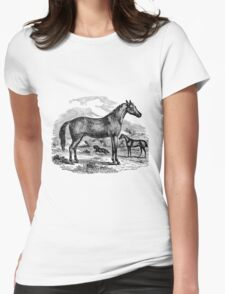 Vintage Arabian Horse Illustration Retro 1800s Black and White Equestrian Image Womens Fitted T-Shirt