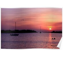 Ocracoke Island Harbor at Sunset Poster