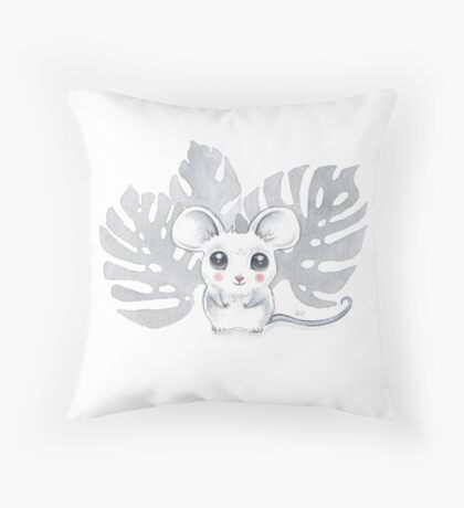 Baby Mouse Watercolor Throw Pillow