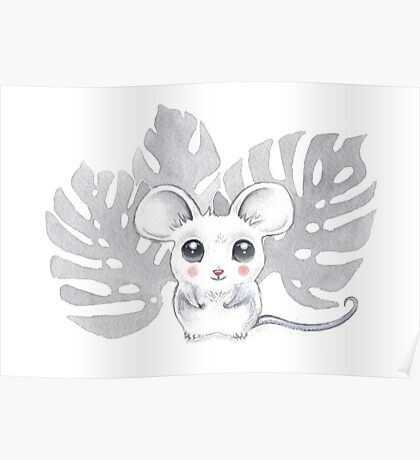 Baby Mouse Watercolor Poster