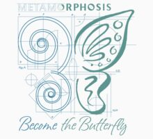 METAMORPHOSIS - Become the Butterfly - Blue Green Graphic - Positive Encouragement - Encouraging One Piece - Short Sleeve