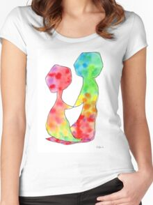 """""""LOVE LOVE LOVE""""  Original Watercolor Painting by Lenna Women's Fitted Scoop T-Shirt"""