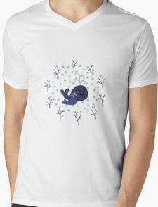 Playful Whales Drawing - Seamless Pattern Mens V-Neck T-Shirt