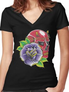 Rose and Devil Women's Fitted V-Neck T-Shirt