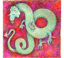 Green Dragon on red background Photographic Print