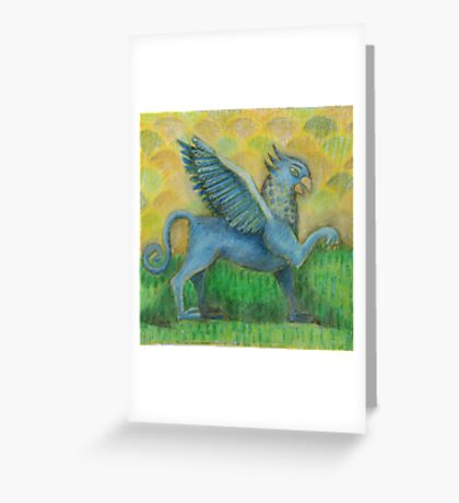 Blue Gryphon on green and yellow background Greeting Card