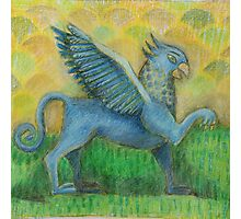Blue Gryphon on green and yellow background Photographic Print