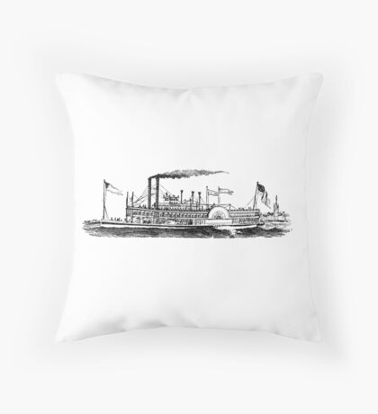 steam boat Throw Pillow