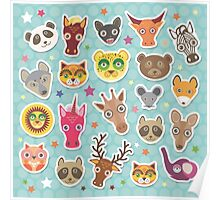 Set of animals on blue polka dot background Poster