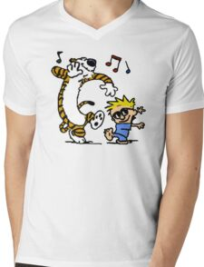 Calvin And Hobbes Dancing Mens V-Neck T-Shirt