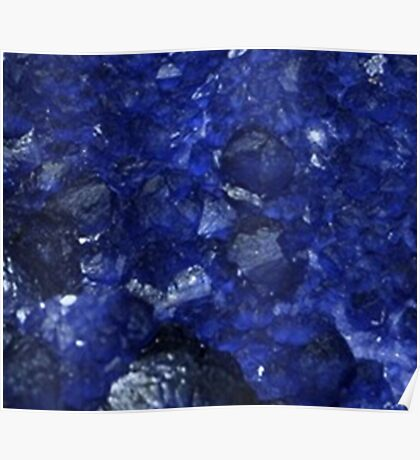 Calming Blue Sapphire Crystal Burst Contemporary Design Poster