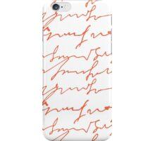 Orange hand writings romantic pattern iPhone Case/Skin