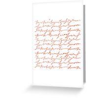 Orange hand writings romantic pattern Greeting Card