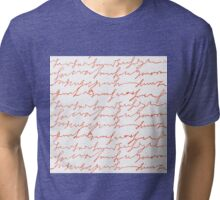 Orange hand writings romantic pattern Tri-blend T-Shirt