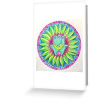 Lovely Mandala with Hamsa Symbol Greeting Card