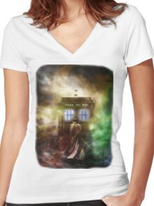 Fantasy Fog Blue Box Women's Fitted V-Neck T-Shirt