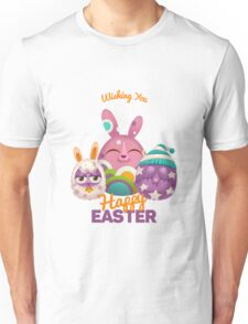 Happy Easter Card with Easter Rabbit Unisex T-Shirt