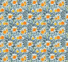 oranges and leaves vintage pattern by Maria Khersonets