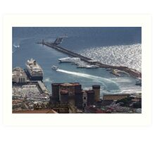 Naples Distinctive Harbor in Silver and Blue - Castles and Cruise Ships From Above Art Print
