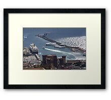 Naples Distinctive Harbor in Silver and Blue - Castles and Cruise Ships From Above Framed Print