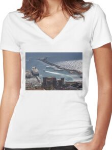 Naples Distinctive Harbor in Silver and Blue - Castles and Cruise Ships From Above Women's Fitted V-Neck T-Shirt