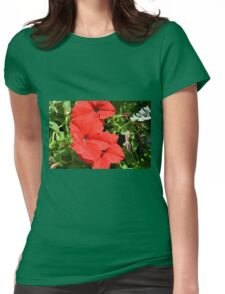 Red flowers on green leaves background. Womens Fitted T-Shirt