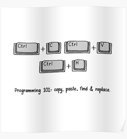 Programming 101: Copy, Paste, Find & Replace Poster
