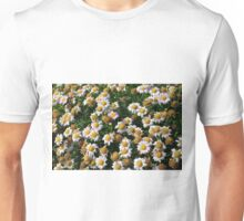 White flowers and yellow center, natural background. Unisex T-Shirt