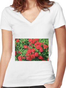 Bush of red flowers and green leaves. Women's Fitted V-Neck T-Shirt