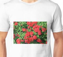 Bush of red flowers and green leaves. Unisex T-Shirt