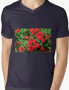 Bush of red flowers and green leaves. Mens V-Neck T-Shirt