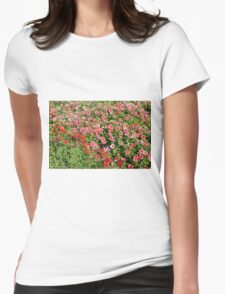 Field of beautiful red flowers. Womens Fitted T-Shirt