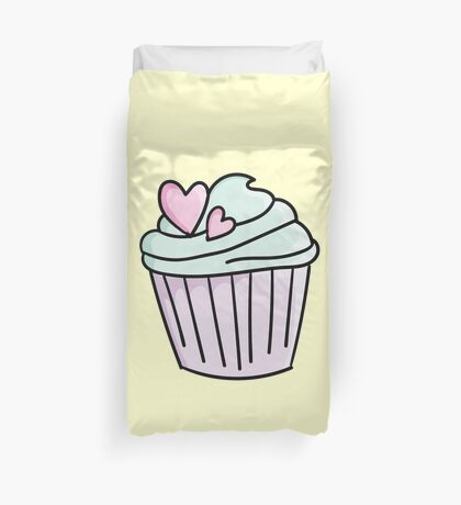 Cupcakes with green cream and heart Duvet Cover