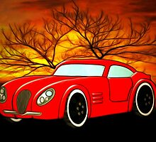A Butch Red Muscle Car by Dennis Melling