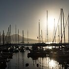 Brilliant Hot Sunshine - Naples Marina Yachts with Vesuvius Volcano Background by Georgia Mizuleva