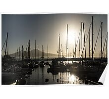 Brilliant Hot Sunshine - Naples Marina Yachts with Vesuvius Volcano Background Poster