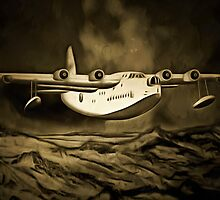 An old style digital painting of a Short Sunderland Flying Boat by Dennis Melling