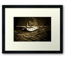 An old style digital painting of a Short Sunderland Flying Boat Framed Print