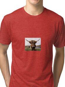 Hairy Highland Coo Ink Sketch Tri-blend T-Shirt