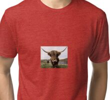 Hairy Highland Coo Ink Sketch Tri-blend T-Shirt