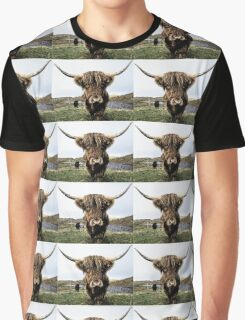 Hairy Highland Coo Ink Sketch Graphic T-Shirt