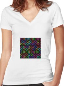 Circles background Women's Fitted V-Neck T-Shirt
