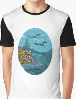 Dragon Head Castle Oval Watercolor Graphic T-Shirt