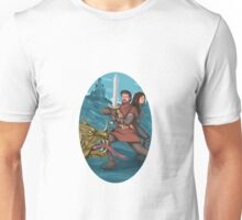 Cavalier and Lady Fighting Dragon Oval Watercolor Unisex T-Shirt