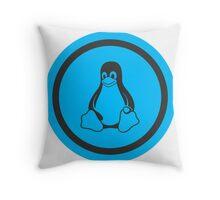 Tux Blue Throw Pillow