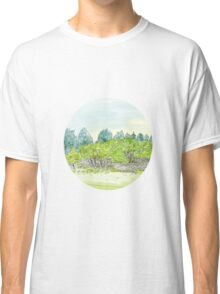 Trees in Park with Cornwall Oval Watercolor Classic T-Shirt